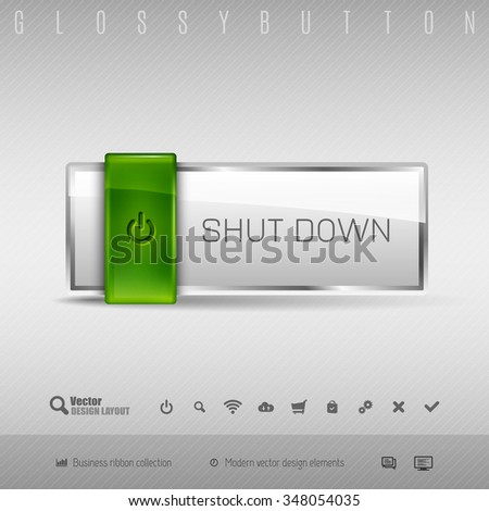 Green and gray glossy button with set of icons. Vector business design elements. - stock vector