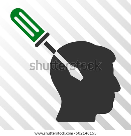 Green And Gray Intellect Screwdriver Tuning interface pictogram. Vector pictograph style is a flat bicolor symbol on diagonal hatch transparent background.