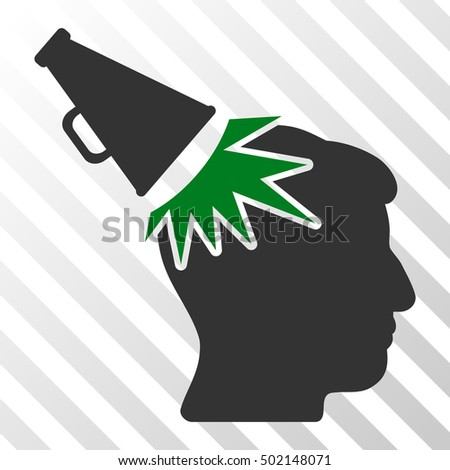 Green And Gray Megaphone Impact Head interface pictogram. Vector pictograph style is a flat bicolor symbol on diagonal hatch transparent background.
