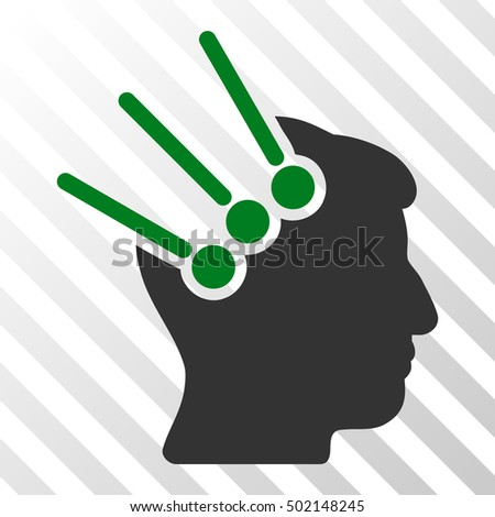 Green And Gray Neural Interface Connectors interface pictogram. Vector pictogram style is a flat bicolor symbol on diagonal hatch transparent background.