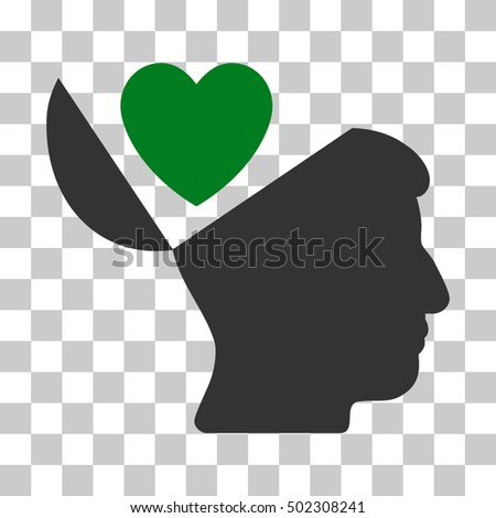Green And Gray Open Mind Love Heart interface icon. Vector pictogram style is a flat bicolor symbol on chess transparent background.