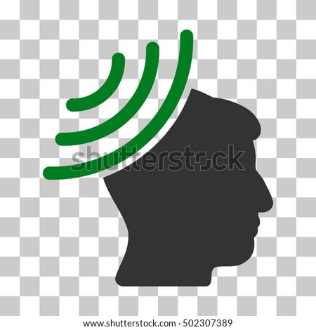 Green And Gray Radio Reception Mind interface pictogram. Vector pictogram style is a flat bicolor symbol on chess transparent background.
