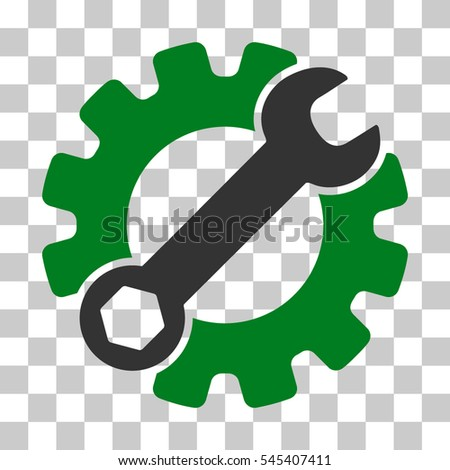 Green And Gray Service Tools toolbar icon. Vector pictogram style is a flat bicolor symbol on chess transparent background.