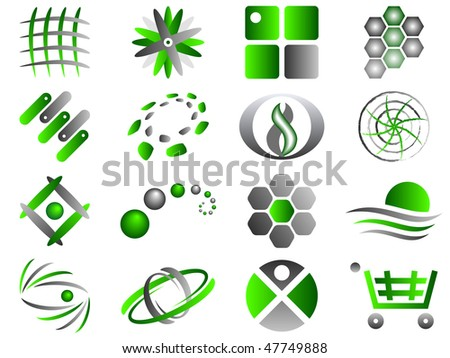 Green and Grey Abstract Vector Icon Design Element Set - stock vector