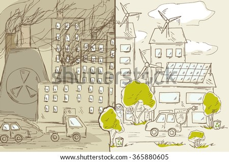 Green and industrial city. Alternative energy sources, eco friendly technology, wind generator, solar panels, electric car. Environmental pollution, waste production,  contamination air and water. - stock vector