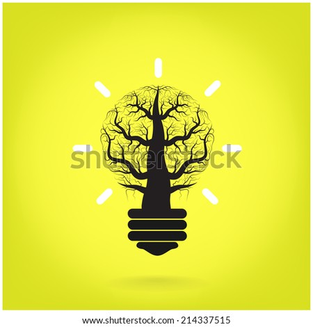 Green and initiative concept. Tree of green idea shoot grow in a light bulb . Vector illustration - stock vector