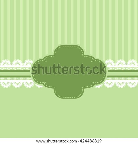 Green and lace ribbon background vintage style, Greeting card, template or background - stock vector