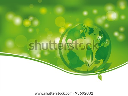 Green and light abstract background with world - stock vector