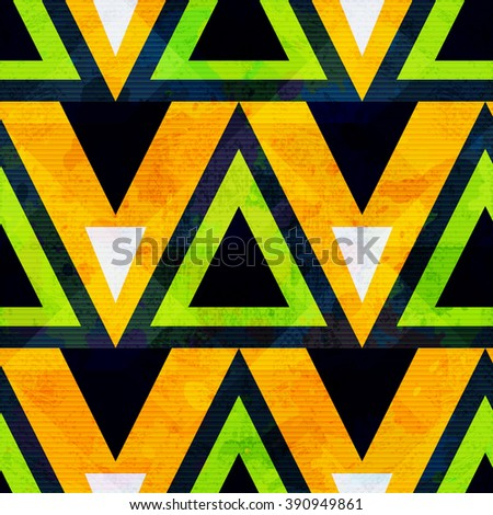 green and orange geometric polygons seamless pattern - stock vector