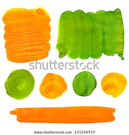 Green and orange gouache paint stains and strokes. Bright vibrant color splotches for logo and graphic backdrop. Vector artistic backgrounds. - stock vector