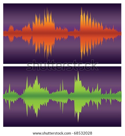 green and orange soundwaves on purple, vector - stock vector
