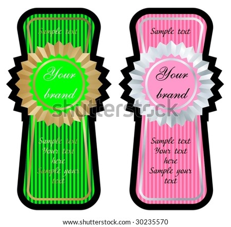 green and pink label set vector