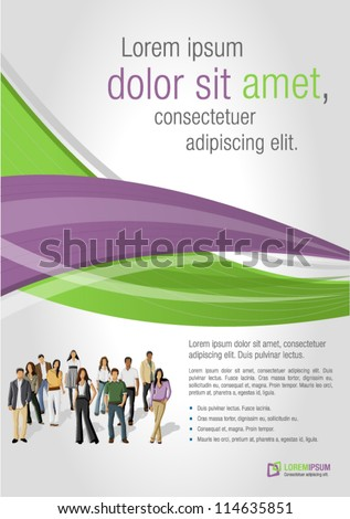 Green and purple template for advertising brochure with business people - stock vector