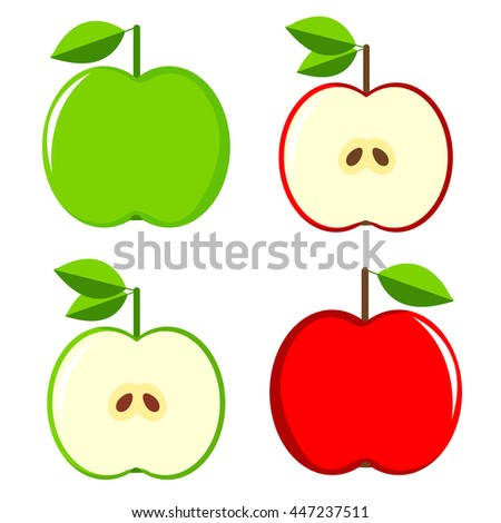 green and red apples clipart. green and red apples set - whole half of fruit clipart