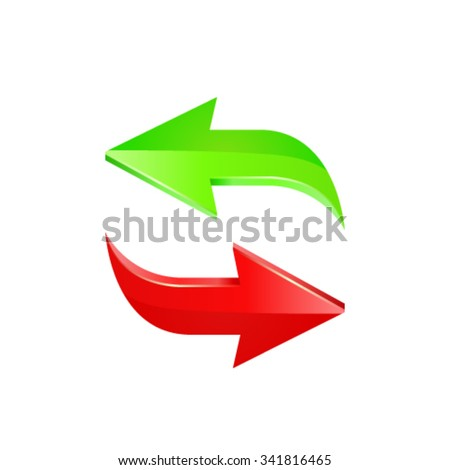 Green and red arrow. Vector - stock vector