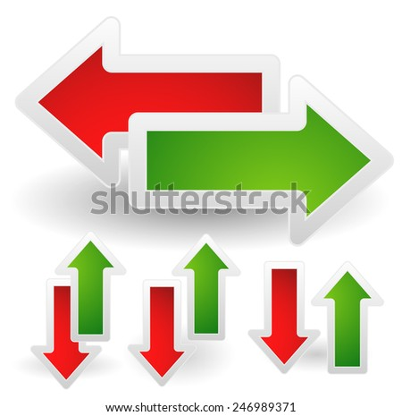 Green and red arrows set. - stock vector