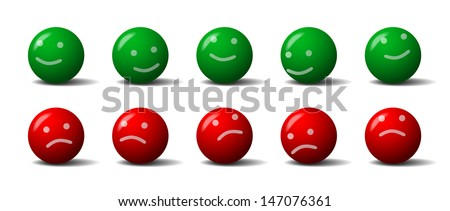 Green and red balls with a smile and frown