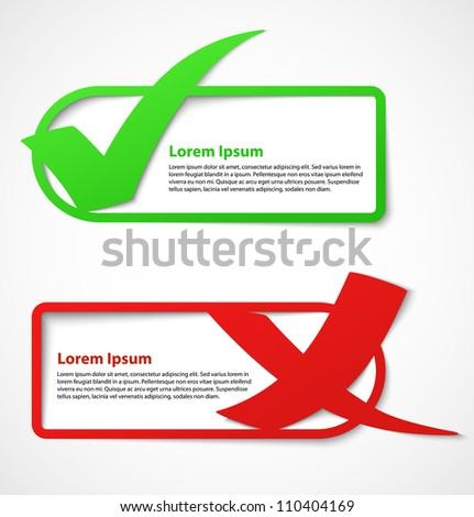 Green and red check mark stickers or banners. Vector illustration - stock vector