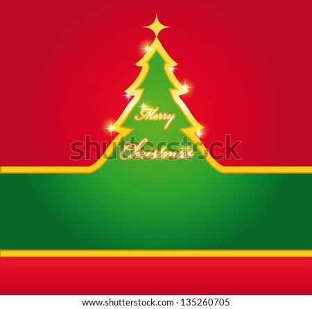 Green and red Christmas card with gold tree. - stock vector
