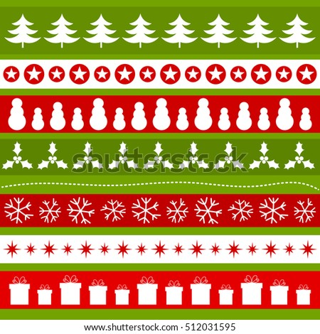 Green and red Christmas ornaments patterns. Vector illustration