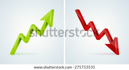 Green and red 3D glossy arrow with shines and shadow - vector illustration - stock vector