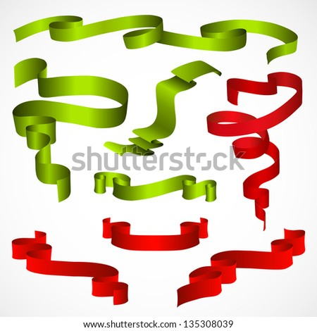 green and red ribbon set - stock vector
