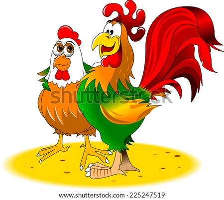 green and red rooster chicken walk together - stock vector
