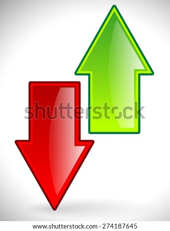 Green and red up, down arrows - stock vector
