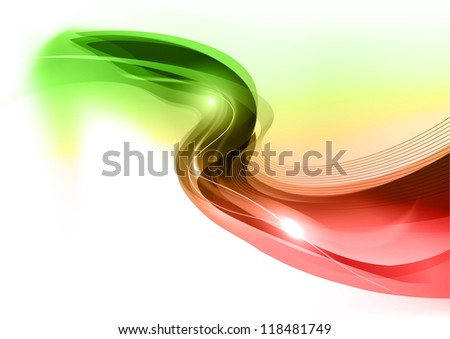 green and red wave on the white background - stock vector