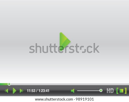 Green and silver video player vector illustration graphic with stylish control buttons - stock vector