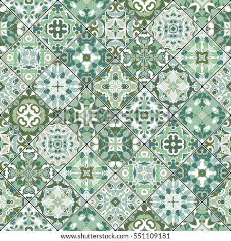 Green and white abstract patterns in the mosaic set. Square scraps in oriental style. Vector illustration. Ideal for printing on fabric or paper.