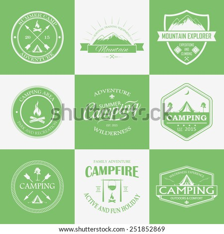 Green and white camping logo, labels and badges. Vector travel emblems. - stock vector