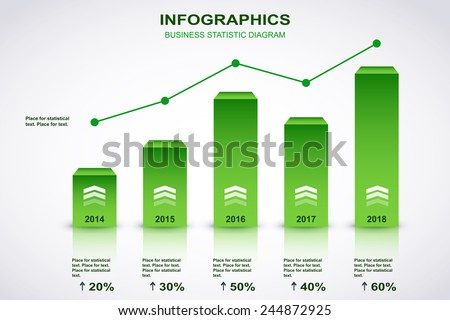Green and white diagram with point chart and place for statistical text. Vector - stock vector
