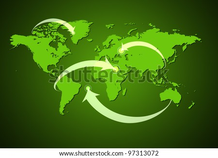 Green and white Illustrated world map with arrows pointing at the item.