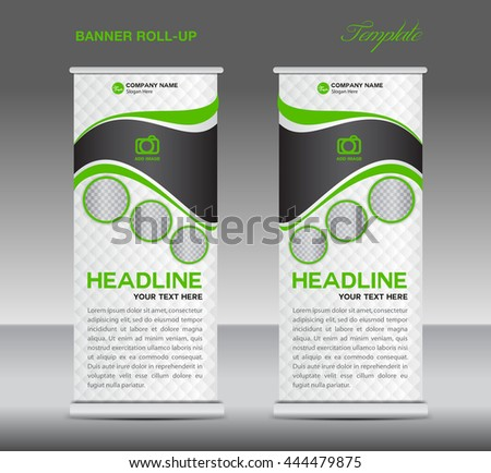 Green and white Roll up banner stand template vintage vector, advertisement, display,flyer - stock vector