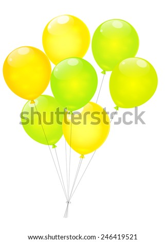 Green and yellow balloons isolated on white background. Vector EPS10. - stock vector