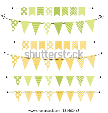 Green and yellow blank banner, bunting or swag templates for scrapbooking  parties, spring, Easter, baby showers and sales, on transparent background, in vector format - stock vector