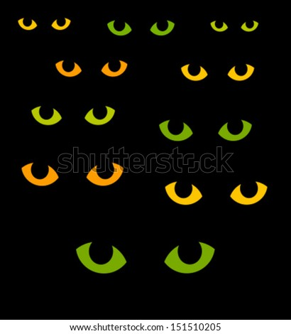Green and yellow cat eyes in darkness. Vector illustration - stock vector