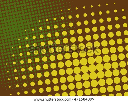 Green and Yellow dots halftone on brown background concept vector comics pop art style blank layout template, EPS10 Vector Illustration
