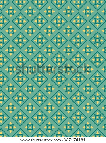 Green and yellow pattern over green color background - stock vector