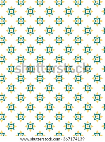 Green and yellow star pattern over white background - stock vector