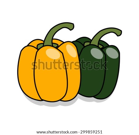 green and yellow sweet peppers on white background - stock vector