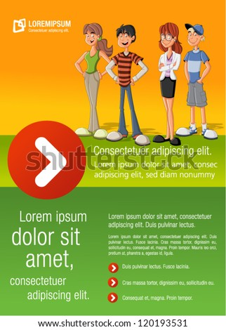 Green and yellow template for advertising brochure with a group of fashion cartoon young people. Teenagers. - stock vector