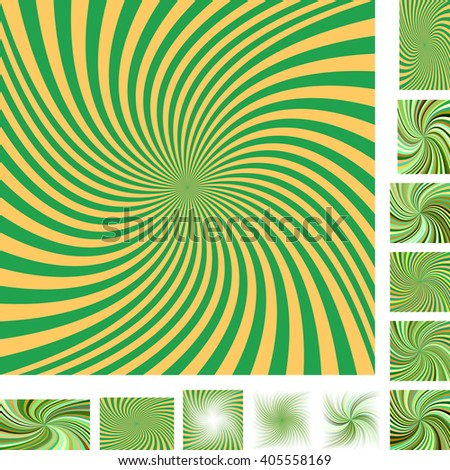 Green and yellow vector spiral design background set. Different color, gradient, screen, paper size versions. - stock vector