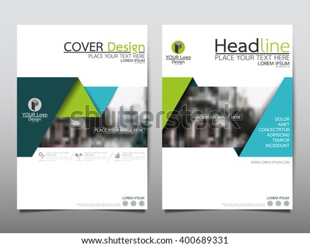 Green annual report brochure flyer design template vector, Leaflet cover presentation abstract flat background, layout in A4 size