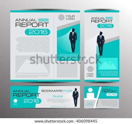 Green annual report Leaflet Brochure Flyer template A4 size design, book cover layout design, Abstract presentation templates, with Bookmark page. - stock vector