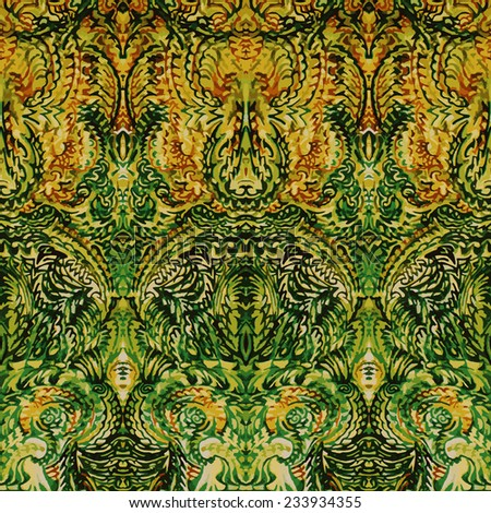 Green antique tapestry pattern - stock vector