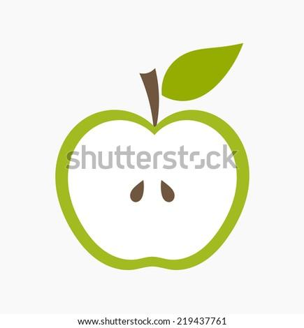 Green apple half. Vector illustration - stock vector