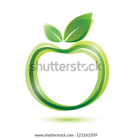 green apple icon, ecology and bio food concept - stock vector