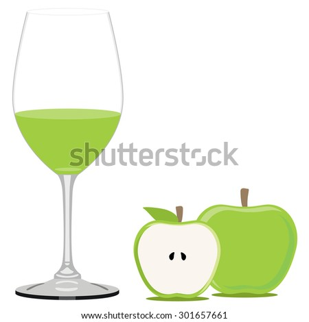 Green apple juice vector illustration. Fruit juice. Apple juice glass - stock vector